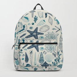 Sea shells on off white Backpack