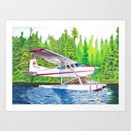 Bush Plane color pencil Art Print