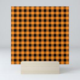 Plaid (orange/black) Mini Art Print