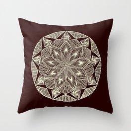 Maroon Mandala Throw Pillow