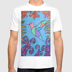 Humming Bird SMALL White Mens Fitted Tee