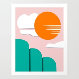 Abstract trees with sun Art Print