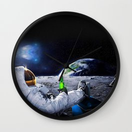 Funny Astronaut with beer Wall Clock