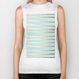 Simply Drawn Stripes White Gold Sands on Succulent Blue Biker Tank