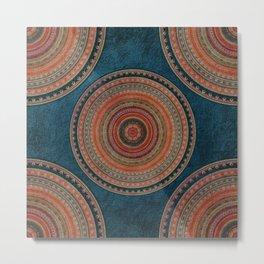 Earth Tone Colored Mandala Metal Print