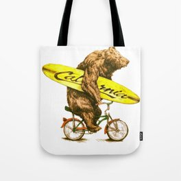 California bear with bicycle and surfboard for surfers Tote Bag