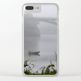 Foggy Fishing Day on the Delaware River Clear iPhone Case