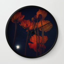Moon and moonflowers Wall Clock