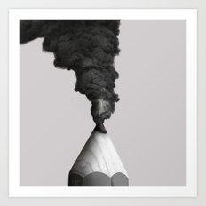 Volcano Pencil Art Print
