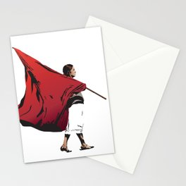 Woman with flag Stationery Cards