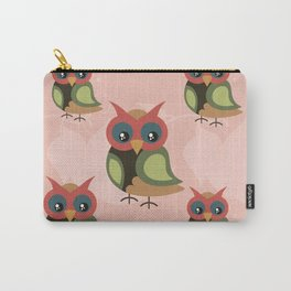 Cute owls on pink background Carry-All Pouch