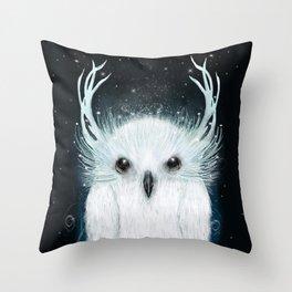the white owl Throw Pillow