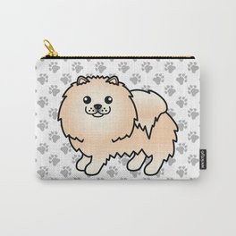 Cream Pomeranian Dog Cute Cartoon Illustration Carry-All Pouch