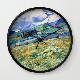 Landscape from Saint-Rémy by Vincent van Gogh (1889) Wall Clock