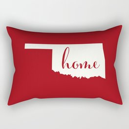 Oklahoma is Home - White on Red Rectangular Pillow