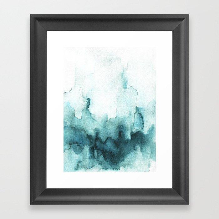 Soft teal abstract watercolor Gerahmter Kunstdruck