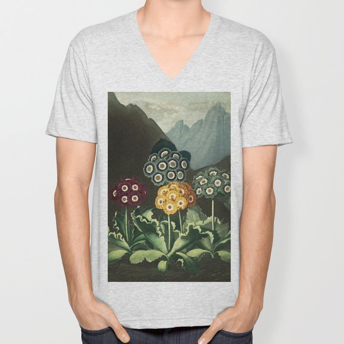 Group of Auriculas :  Temple of Flora Unisex V-Neck