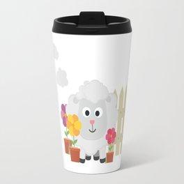 Gardening Sheep with flowers B67e8 Travel Mug