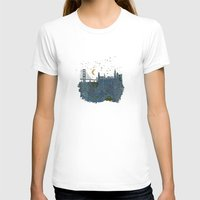 skyline T-shirts featuring San Francisco skyline old map by Paula Belle Flores