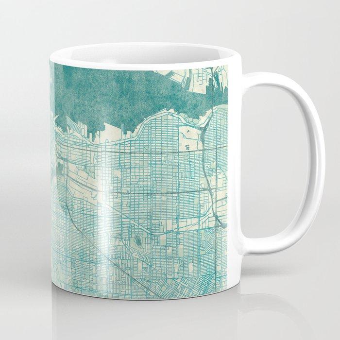 Vancouver Map Blue Vintage Coffee Mug