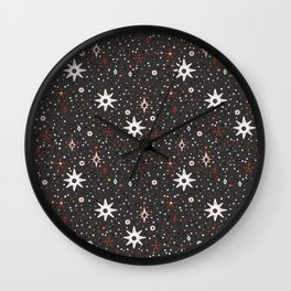 Holiday White star pattern Wall Clock