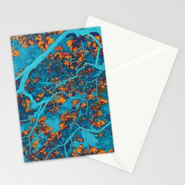 Colourful blue and orange trees Stationery Cards