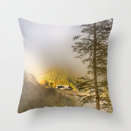 Mountains in the mist Throw Pillow