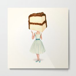 Cake Head Pin-Up - Chocolate Metal Print