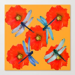 CLUSTER OF BLUE DRAGONFLIES RED HOLLYHOCK FLOWERS Canvas Print