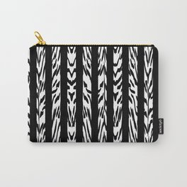 Tribal Black and White Tiger Stripe Pattern Carry-All Pouch