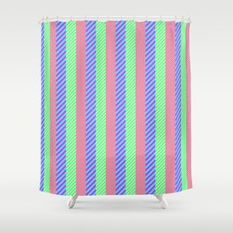 Modern abstract pink teal yellow stripes pattern Shower Curtain