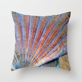 Scallop Shell on the Sand Throw Pillow