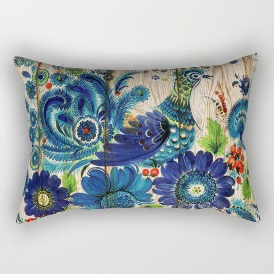Russian Folk Art on Wood 02 Rectangular Pillow