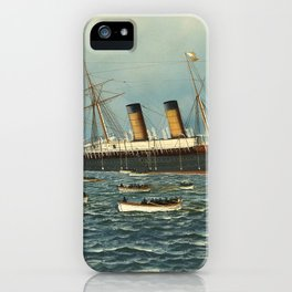 Vintage Illustration of The SS Oregon Sinking (1902) iPhone Case