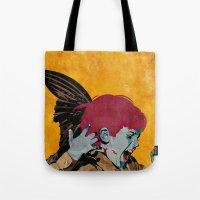 wesley bird Tote Bags featuring Bird by Alvaro Tapia Hidalgo