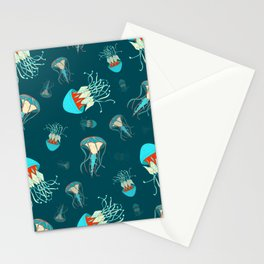 Flow jellyfishes Stationery Cards