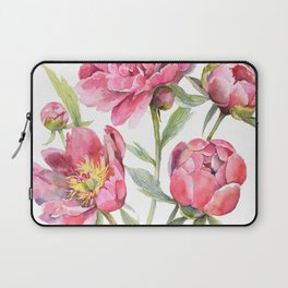 Peonies Watercolor Florals Botanical Design Laptop Sleeve
