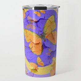 OLD YELLOW BUTTERFLIES &  LILAC WALLPAPER MODERN ART  f Travel Mug