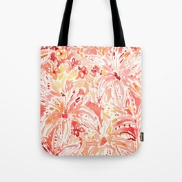 LILY LUST Peach Painterly Floral Tote Bag