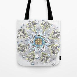 Faux Snow Mandala Tote Bag