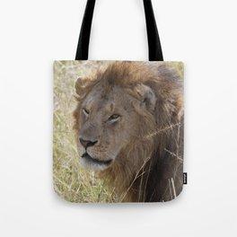 Peaceful lion face Tote Bag