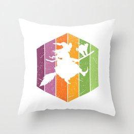 Cute Silhouette Of A Flying Witch With It's Stick Broom With A Cat T-shirt Design Creepy Spooky Throw Pillow