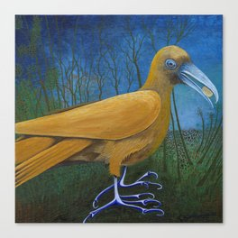 Yellow Bird with Coin Canvas Print