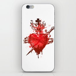 heart in flames wounded by dagger iPhone Skin