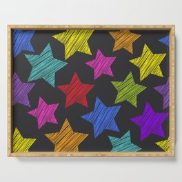 Sketch pattern with stars. Red green orange pink lilac blue stars on black background Serving Tray