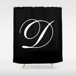 Elegant And Stylish Black And White Monogram D Shower Curtain