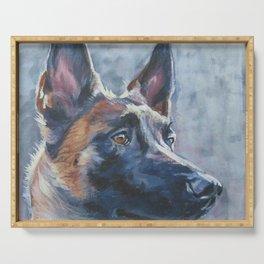 beautiful Belgian Malinois dog art portrait Beautiful Fine Art Dog Painting by L.A.Shepard Serving Tray