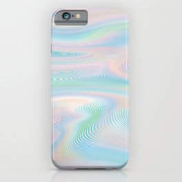 Pastel Holo Glitch Waves iPhone Case