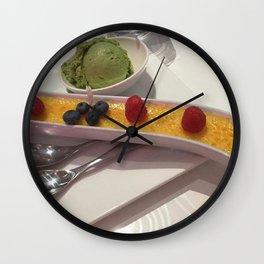 Creme brûlée and green tea ice creme Wall Clock