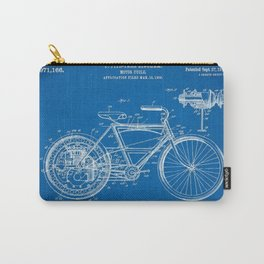 1910 F. Fitz-Tarr Bingham Motorcycle Patent Blueprint Carry-All Pouch